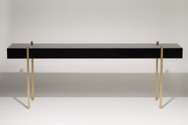lacquer console table with worked brass legs 1