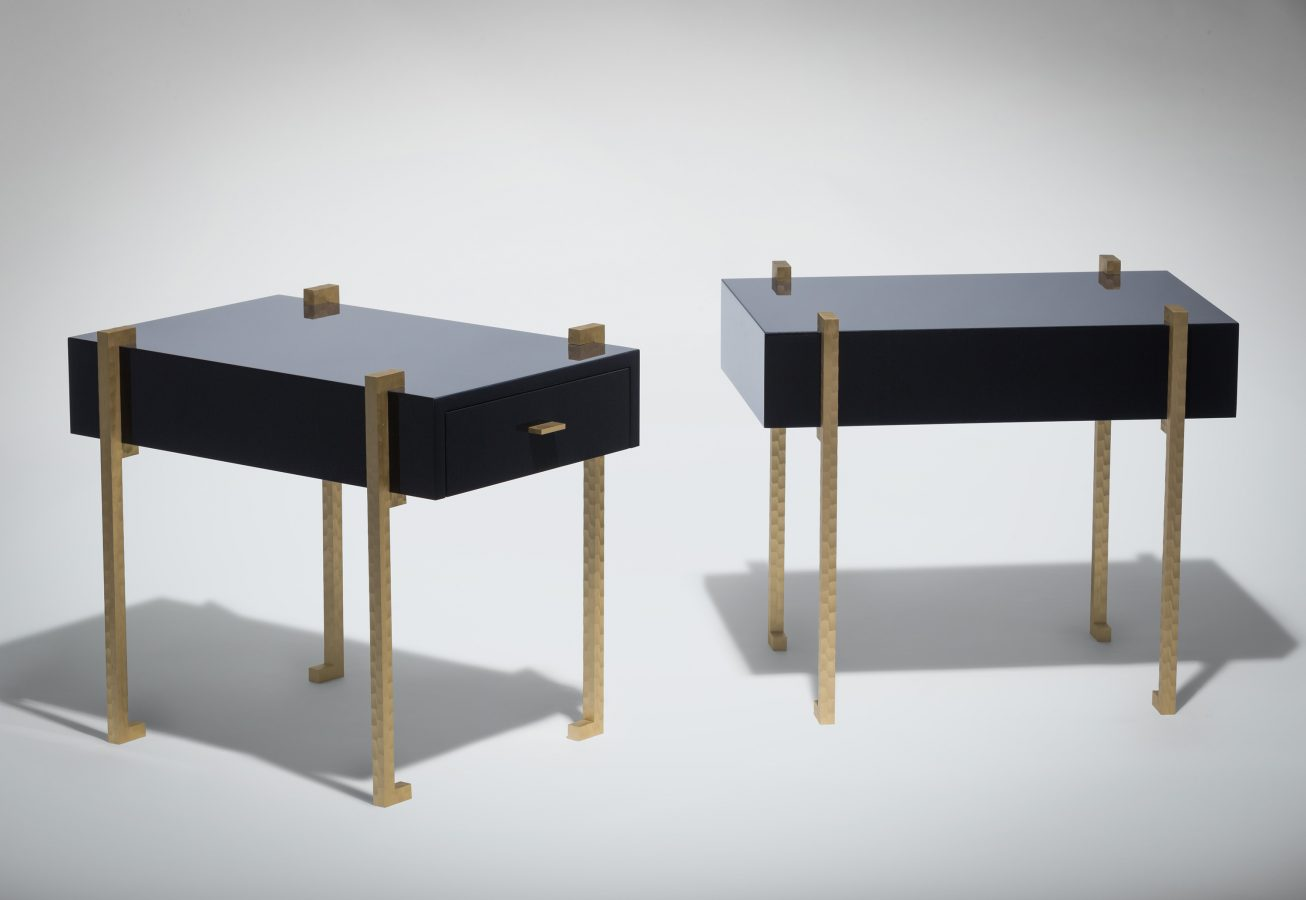 modern side table in dark blue lacquer and brass 1