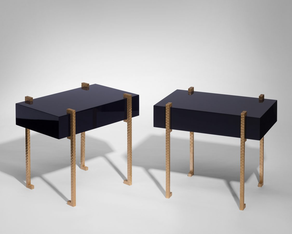 modern side table in dark blue lacquer and brass 2