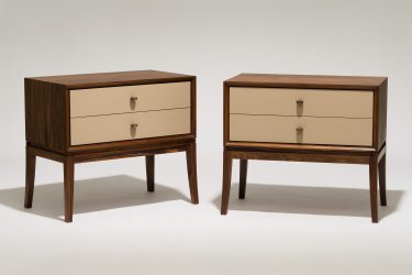 rosewood and leather bedside cabinet