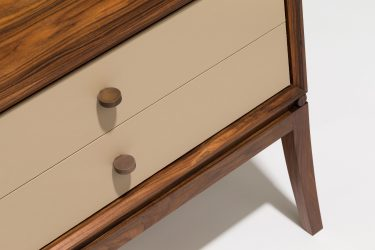 rosewood and leather bedside cabinet detail