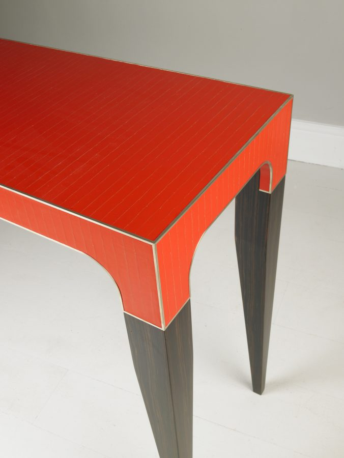 modern console table red detail