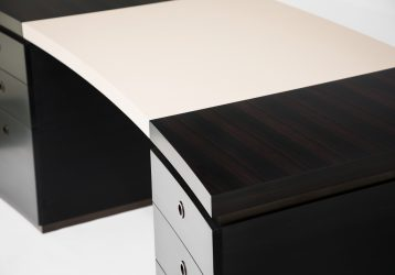 curved ebony and leather desk detail 3