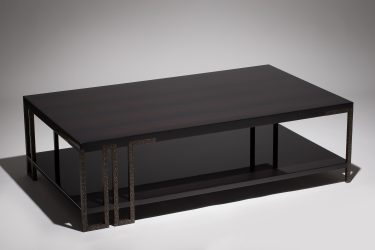 modern coffee table in ebony and worked black-bronze 1