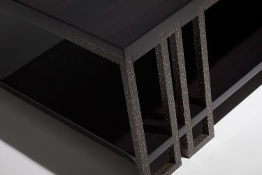 modern coffee table in ebony and worked black-bronze 2