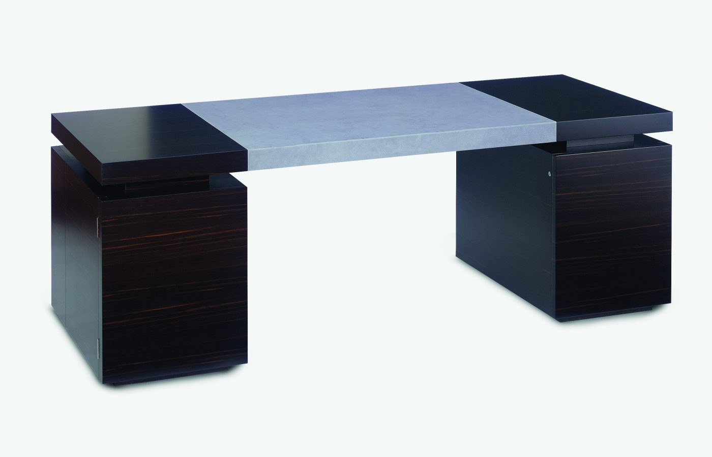ebony and leather desk