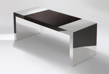 ebony and steel desk