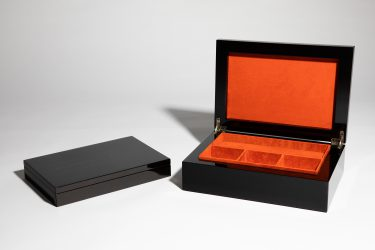 luxury jewellery boxes orange suede