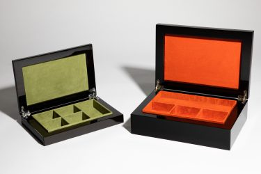 luxury jewellery boxes green and orange suede