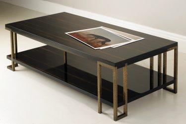 gloss macassar ebony coffee table with bronze legs 1