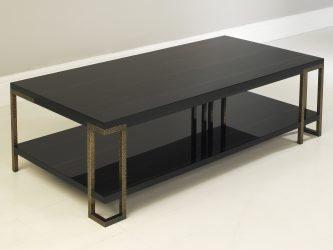 gloss macassar ebony coffee table with bronze legs 2