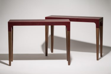 leather and walnut console table