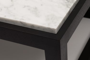 marble and wood coffee table detail