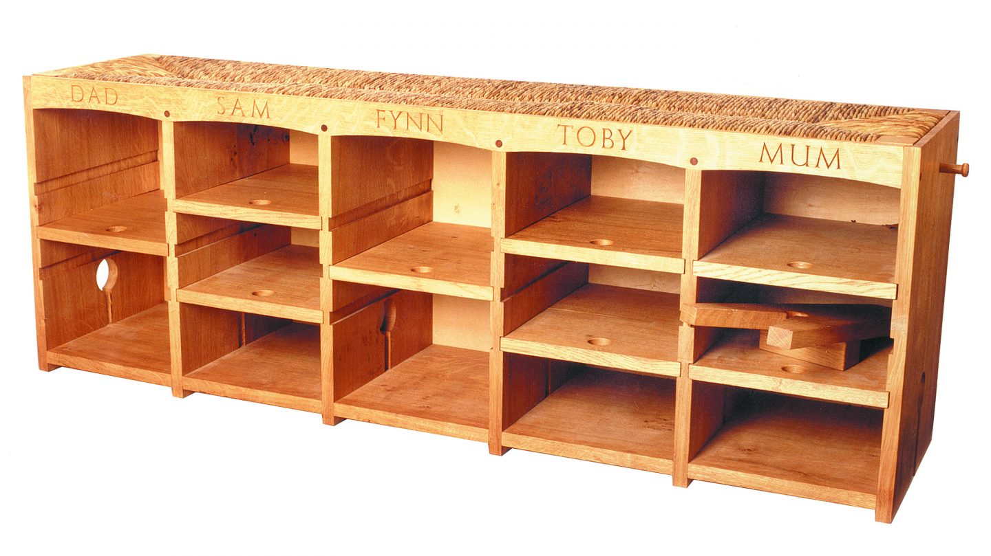 oak shoe storage bench 2