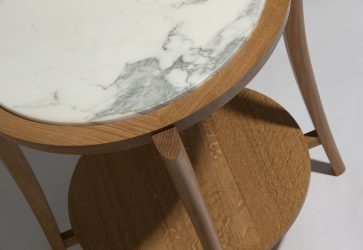 wood marble side table detail