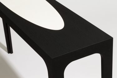 vellum and oak console table detail 1