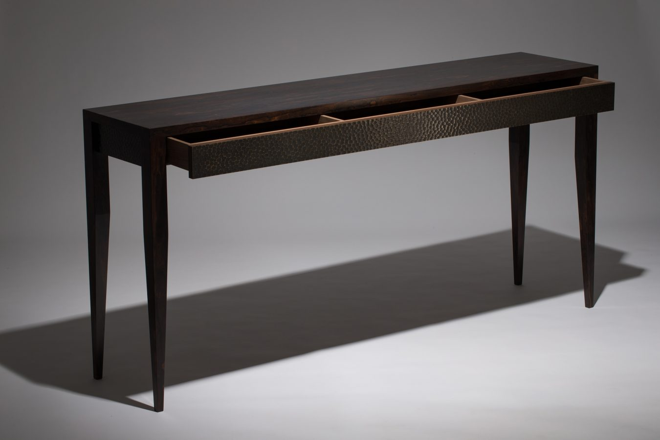 ziricote console table open drawer