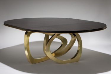 wood and brass dining table extending 2