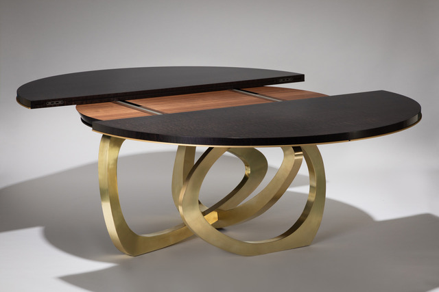 wood and brass dining table extending 1