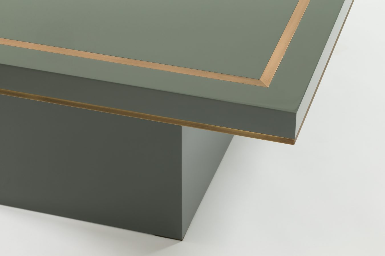 grey lacquer coffee table with brass detail 2