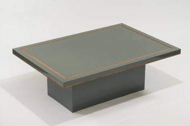 grey lacquer coffee table with brass detail 1
