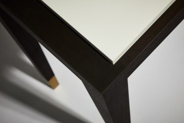 modern table walnut corian detail