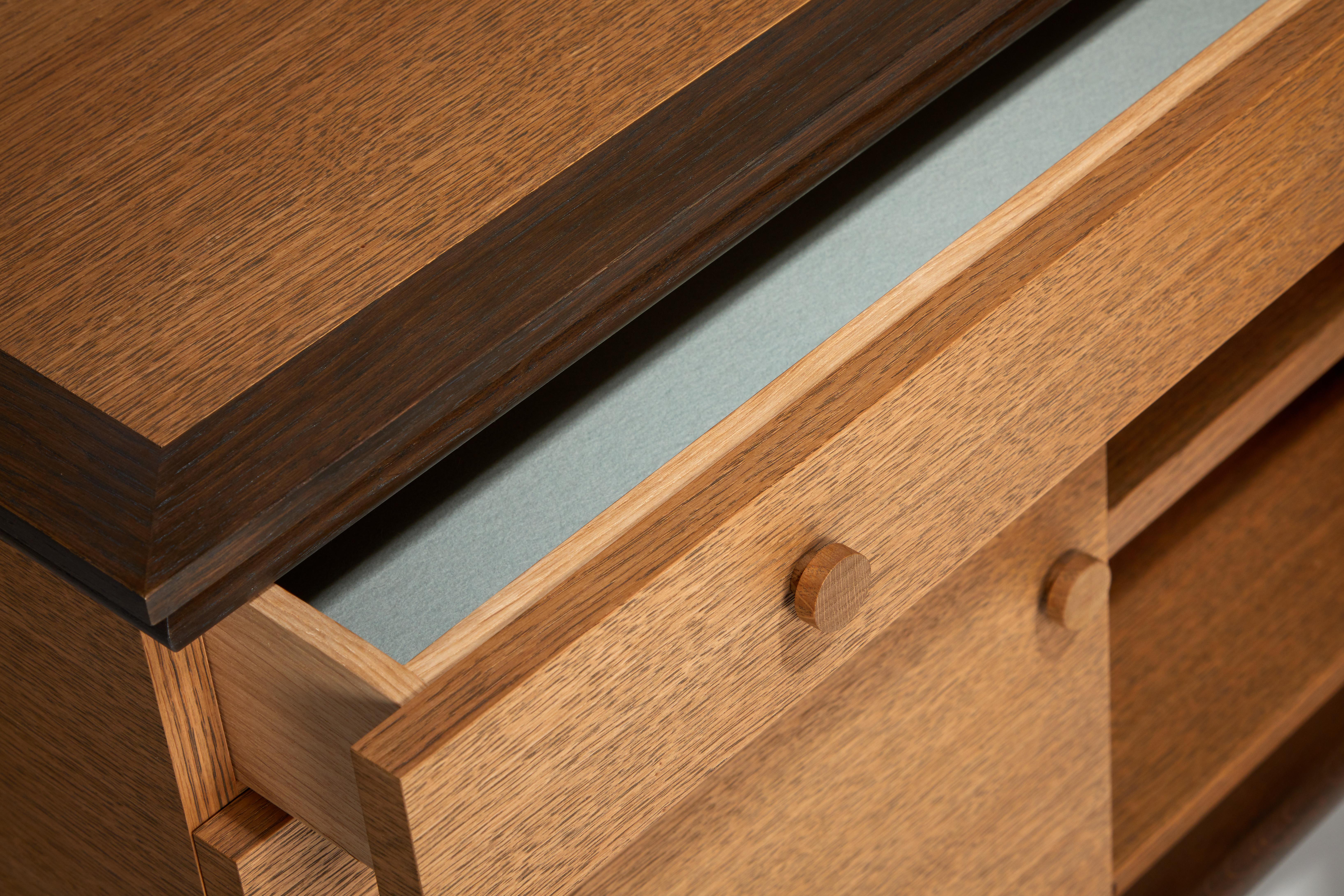 oak cabinet detail