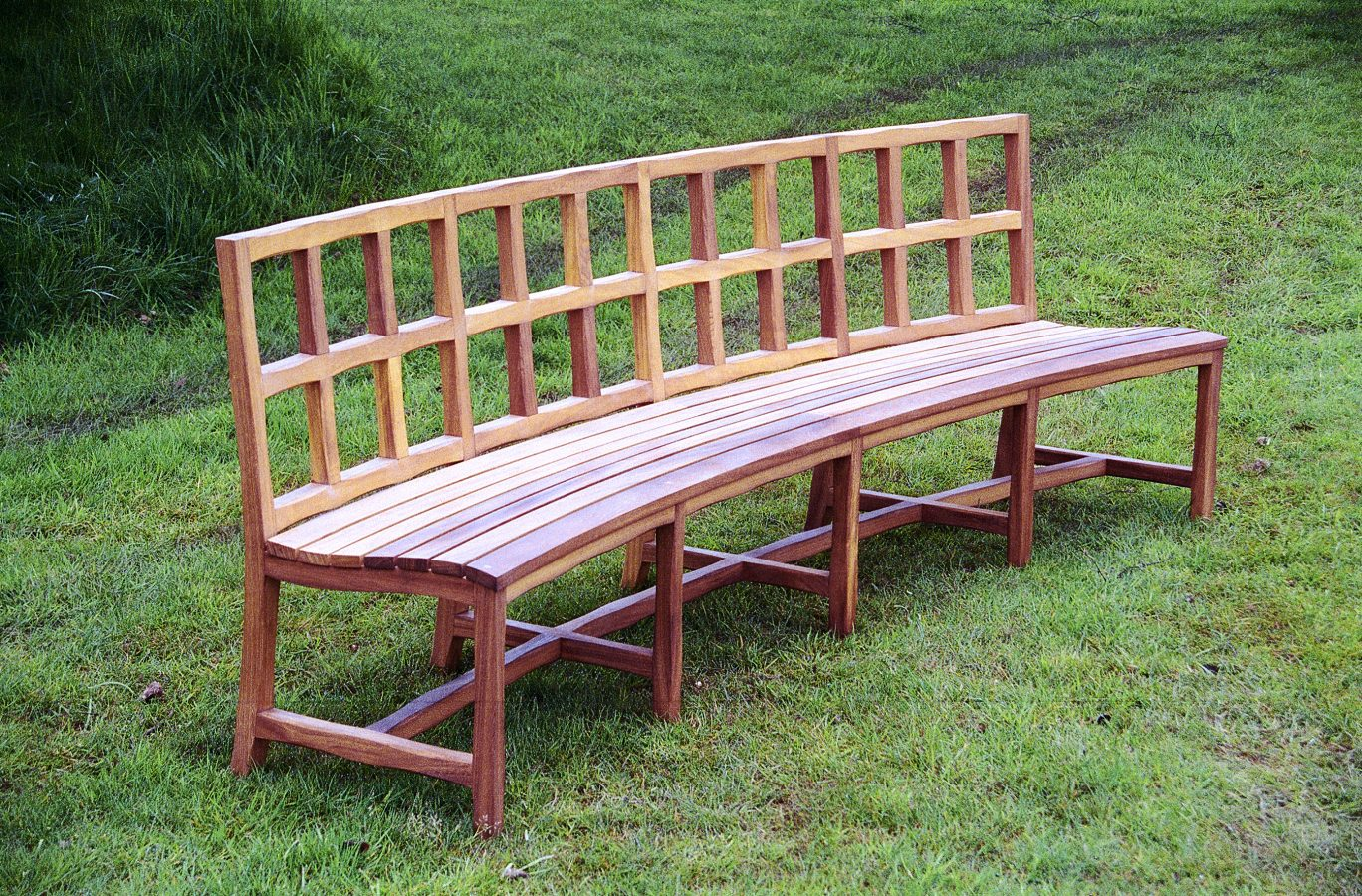 curved oak garden bench